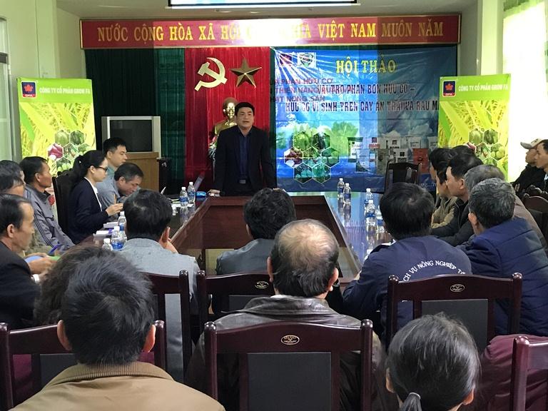 Thạc sĩ Nguyễn Thế Nhuận - Giám đốc Trung tâm khoai tây, rau và hòa Đà Lạt- Lâm Đồng phát biểu hội thảo